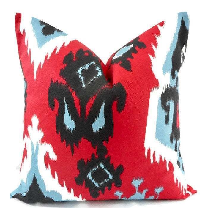 Christmas Pillow.Red & White Pillow Cover. Ikat Carmine red Print Pillow cover.