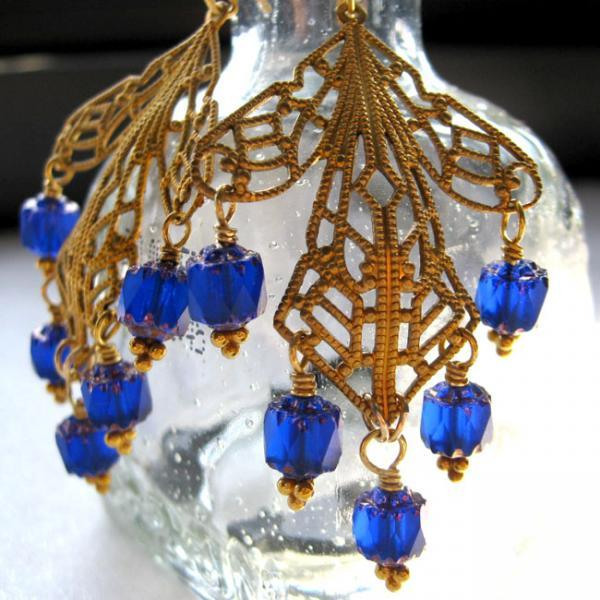 Cobalt Blue Czech Glass Chandelier Earrings