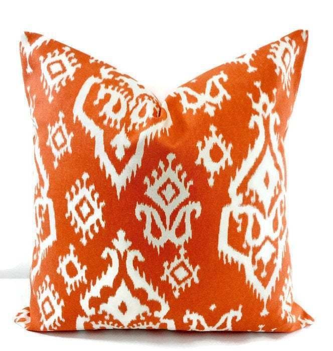 Apache Orange Macon pillow cover. Raji Apache orange print. Sham cover. Pillow