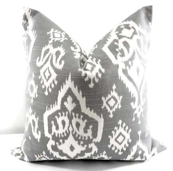 Ash Grey pillow cover. Raji Ash grey  print. Sham cover. Pillow cover. Raji