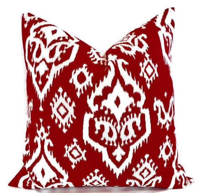 Carmine Red pillow cover. Raji Carine Red   print. Sham cover. Pillow cover.