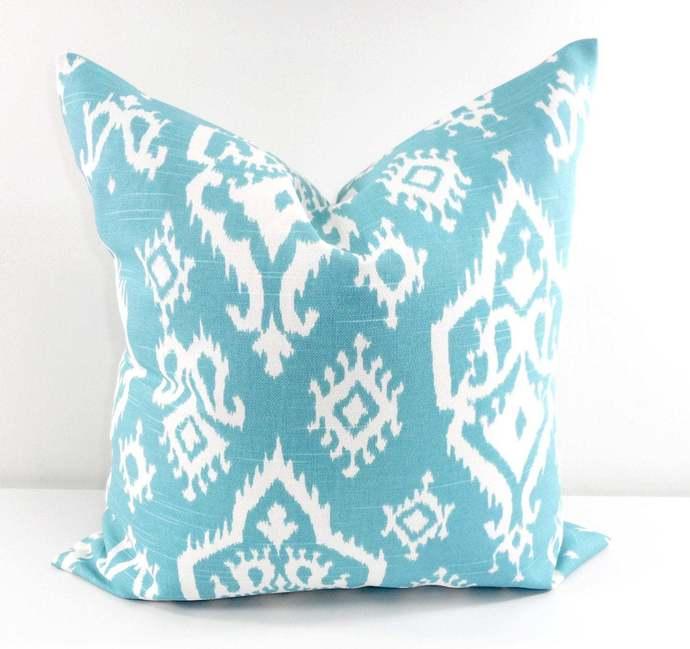 Spirit Blue   pillow cover. Raji Spirit Blue  print. Sham cover. Pillow cover.