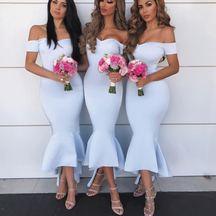 blue mermaid bridesmaid dresses 2020 satin off the shoulder ankle length cheap