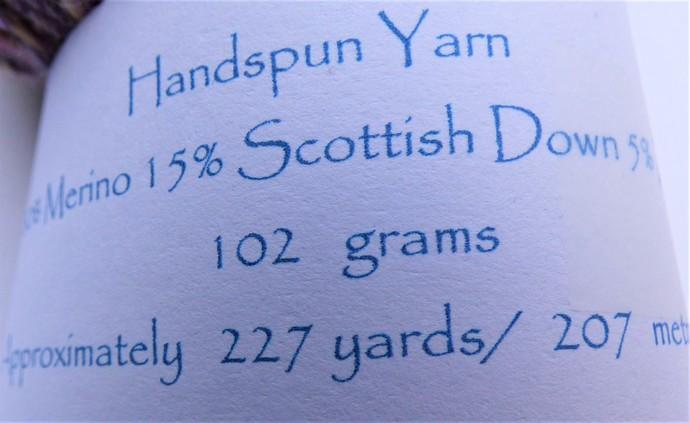 Handspun Yarn – 80/15/5% Merino / Scottish Down / Zwartbles Wool – 102 grams –