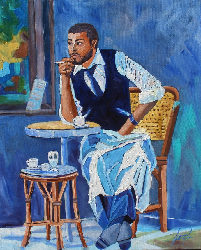 The Waiter an Original Oil Painting by Rebecca Beal in white & blues