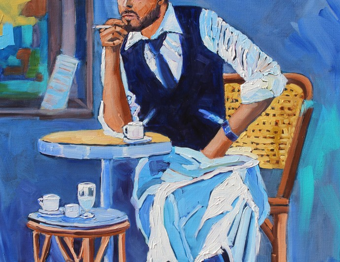 THIS LISTING IS RESERVED: The Waiter an Original Oil Painting by Rebecca Beal in