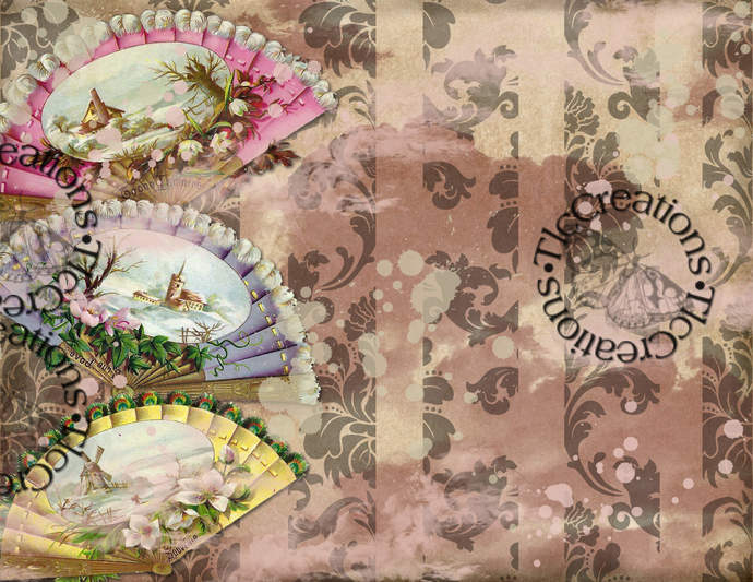 Antique Fans Vintage Printable Journal Papers and Add ons