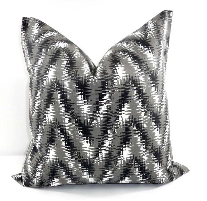 Black Pillow cover. Rhodes shadow sham cover. Black White and grey. Pillow Cover