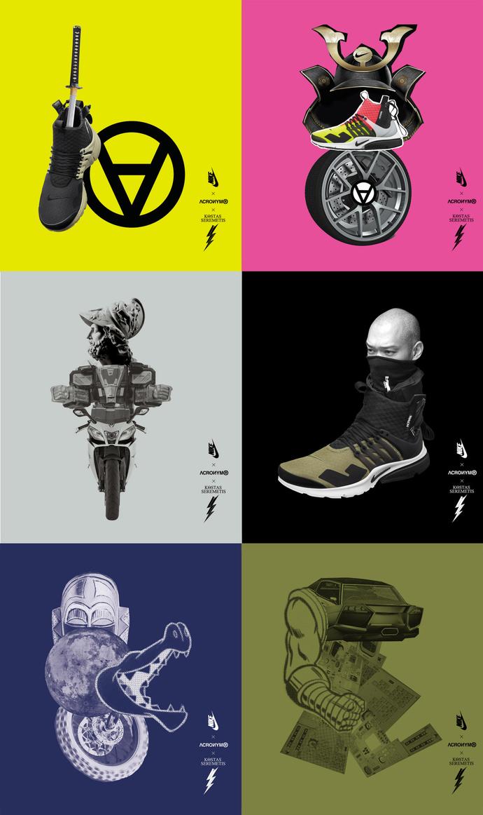 6pcs Nike x Acronym x Kostas Seremetis Collaboration Poster Complete Set -