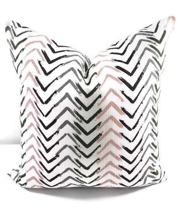 Blush pink pillow cover. Rudra Talia Print Pillow cover. Throw pillow cover.