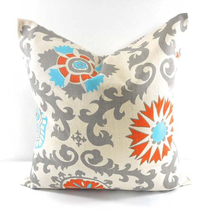 Rosa Dossett print. Grey Suzani sham cover. Orange Natural and grey. Pillow