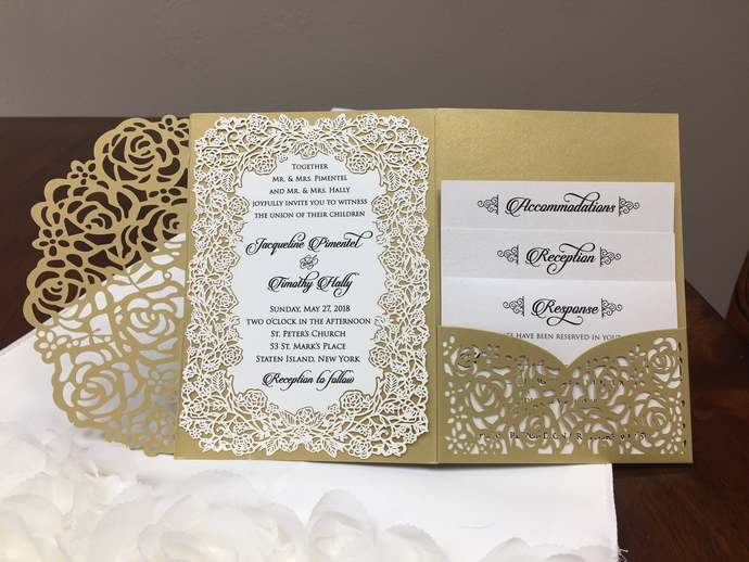 Gorgeous Metallic Gold Shimmer Laser Cut Wedding Invitations Pocket Wedding