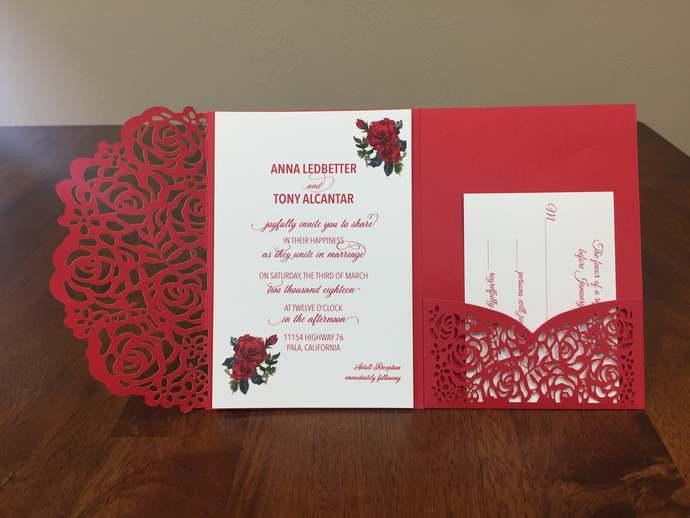 Gorgeous Red Matte Laser Cut Wedding Invitations Pocket Wedding Invitations Die