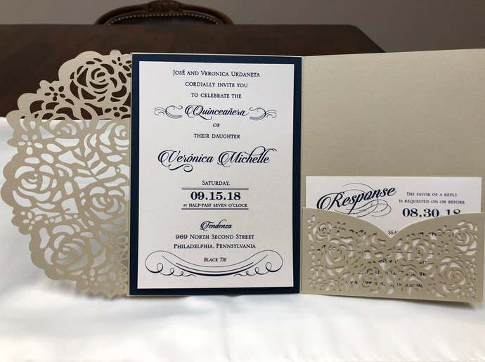 Gorgeous Champagne Gold Shimmer Laser Cut Quinceanera Wedding Invitations Pocket