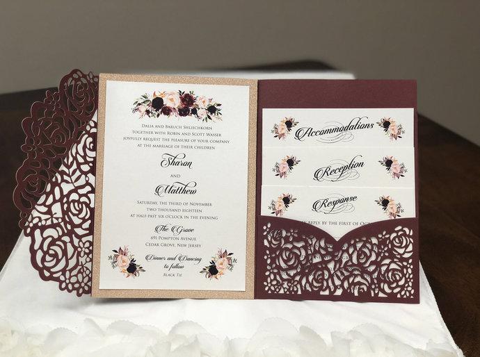 Gorgeous Burgundy Shimmer Laser Cut Quinceanera Wedding Invitations Pocket