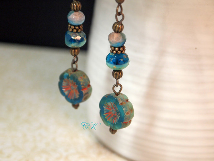 Hawaiian Flower Earrings Vintage Style Drop Earrings Czech Bead Earrings