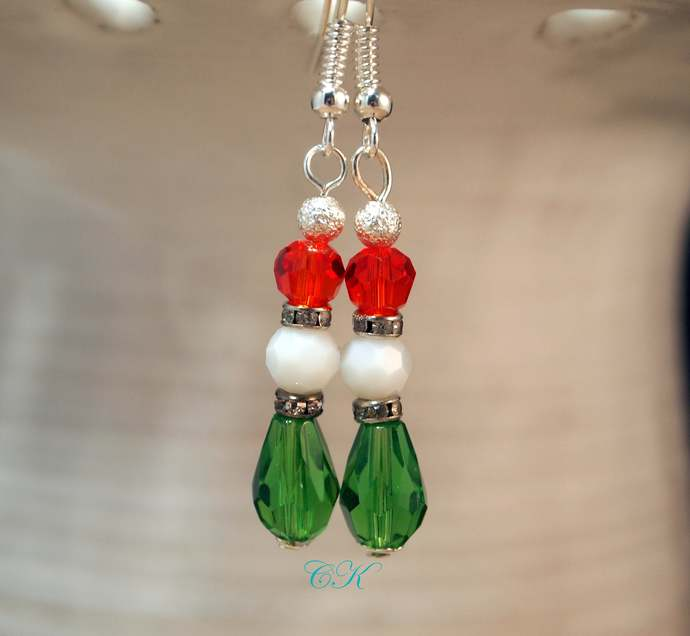 Christmas Earrings Red and Green Dangle Pierced or Clip-on  Earrings Christmas