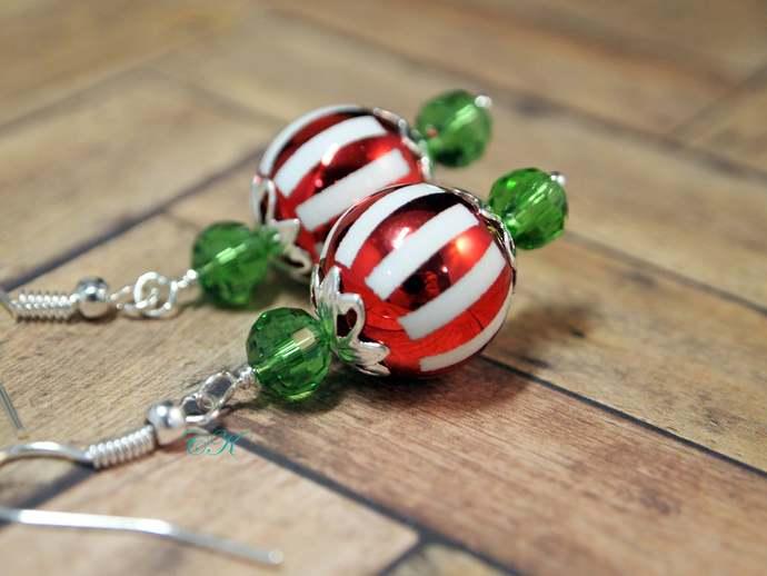 Christmas Earrings Ornament Dangle Pierced or Clip-on  Earrings Christmas
