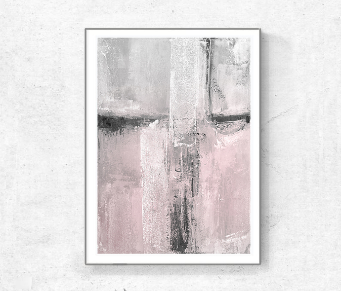 Set of 2 Prints, Downloadable, gray pink black white, set blush pink painting,