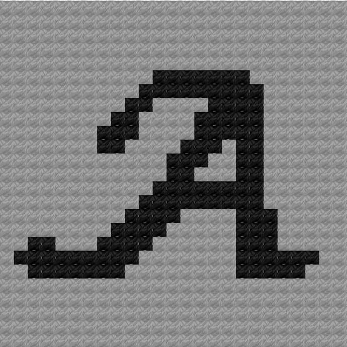 Monogram Script Letter A C2C Crochet Pattern PDF Graph & Written Color Block