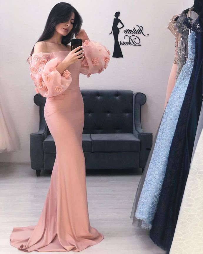 2019 Aso Ebi Arabic Pink Sexy Mermaid Evening Dresses Long Sleeves Beaded Prom