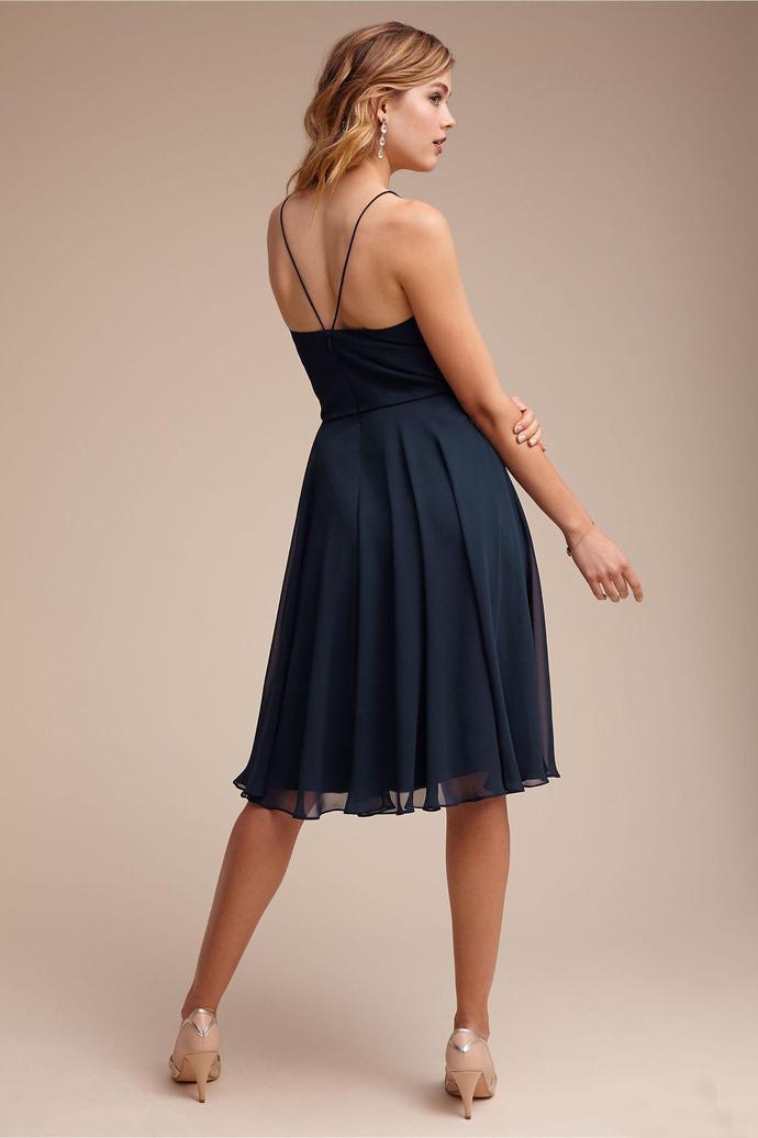 Simple Short Country Bridesmaid Dresses Knee Length Navy Blue Chiffon Spaghetti