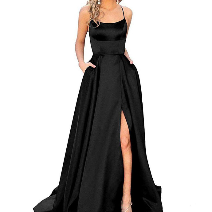 2019 Cheap Spaghetti Straps Satin Long Prom Dresses Ruched Split Criss Cross