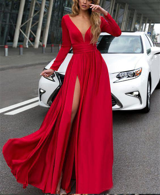 2019 V neck long sleeve solid color floor length cheap women party dresses SEXY