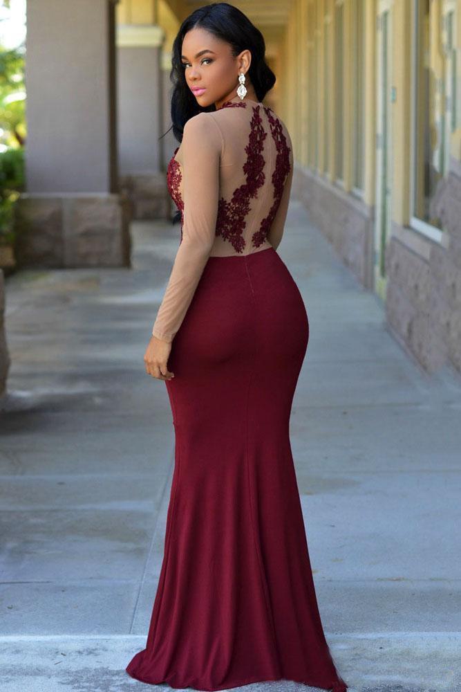Long Sleeves Burgundy Formal Evening Dresses 2019 New Jewel Appliques Mermaid