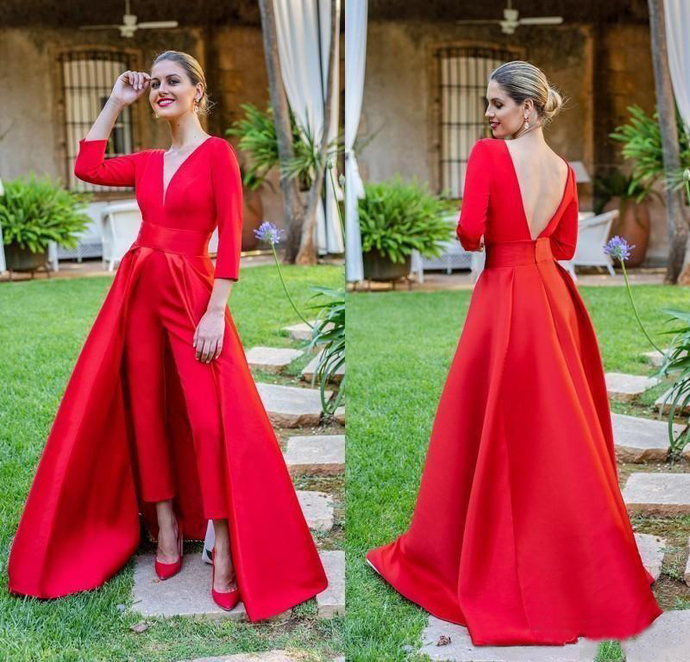 2020 New Arrival Fashion Red Suits Prom Dresses V Neck Satin 3/4 Long Sleeves