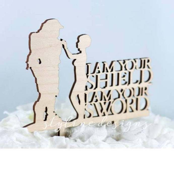 I am your Shield and I am your Sword Romantic Wedding Laser Cut Sign or Topper