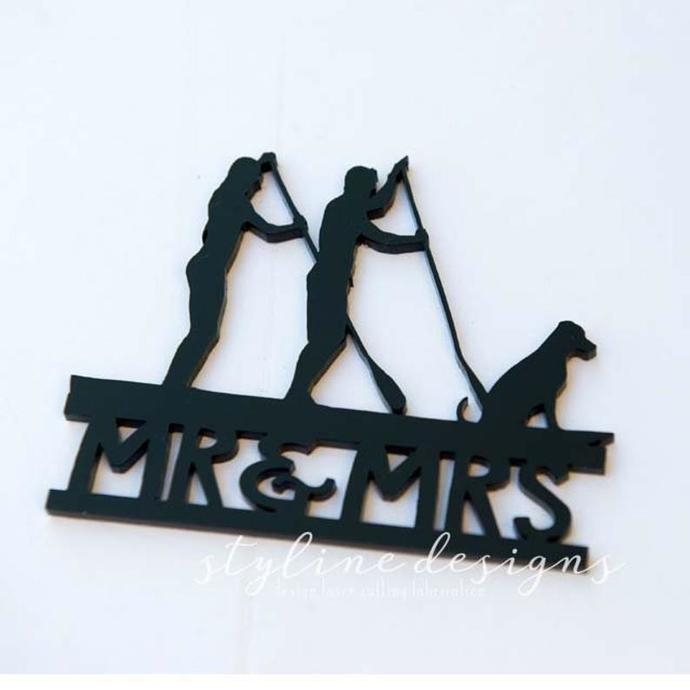 Couple Paddleboard with Custom Dog Wedding Laser Cut Sign or Topper