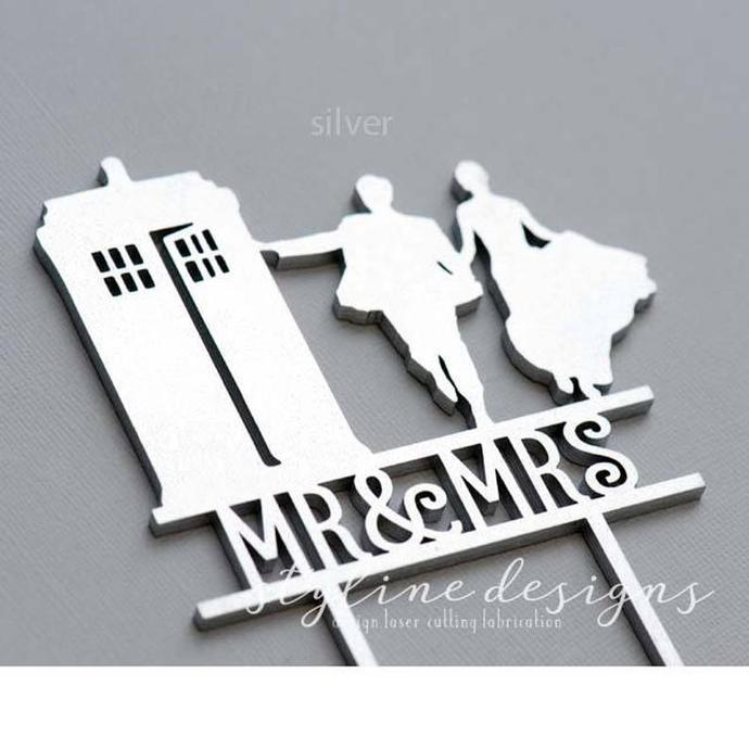 Couple and Tardis Inspired Wedding Laser Cut Sign or Topper
