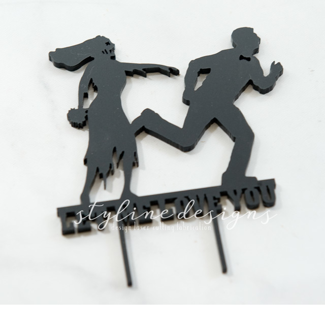 Zombie Bride Chasing Groom Humor Wedding Laser Cut Sign or Topper