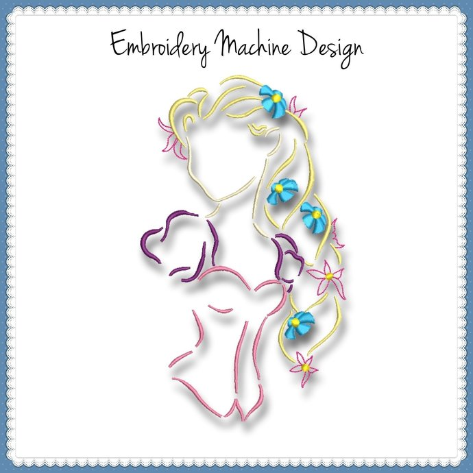 Rapunzel Embroidery Machine Design Sketch Princess Disney Designs Instant