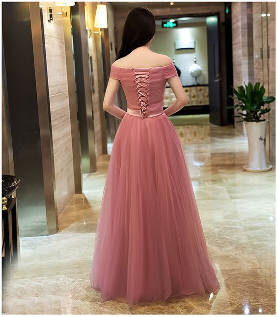 Cute Off Shoulder Tulle Long New Prom Dress 2020, Pink Party Dress 2020