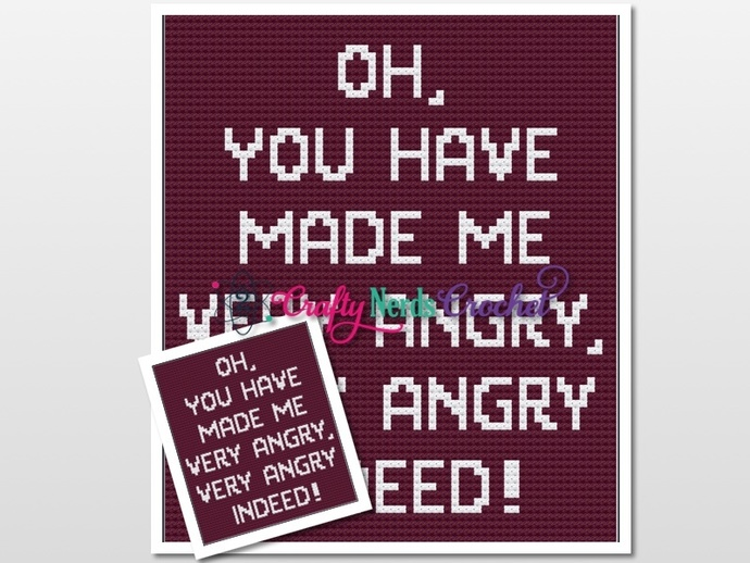 You Have Made Me Angry Pattern Graph With Single Crochet and C2C Written