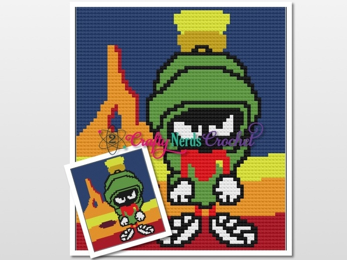 Marvin on Mars Pattern Graph With Single Crochet and C2C Written