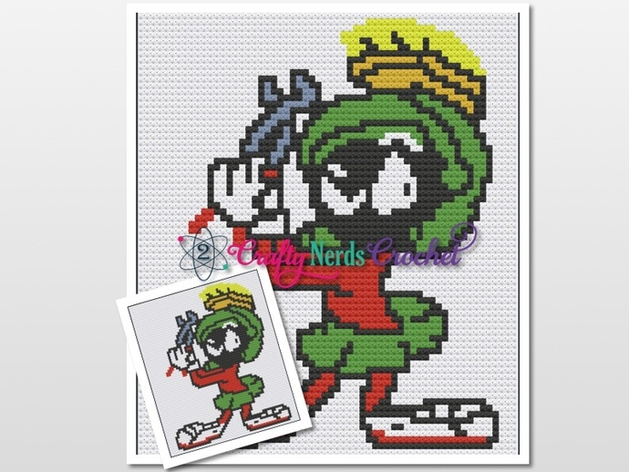 Marvin With Wrench Pattern Graph With Single Crochet and C2C Written