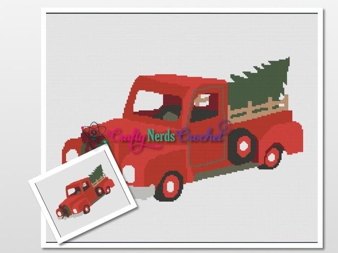 Christmas Truck 2 Pattern Graph With Single Crochet Written