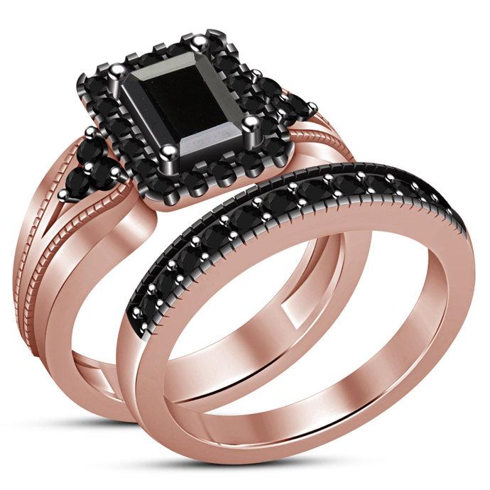 Round Cut White Diamond Bridal Set 14k Rose Gold Finish Engagement Ring 925