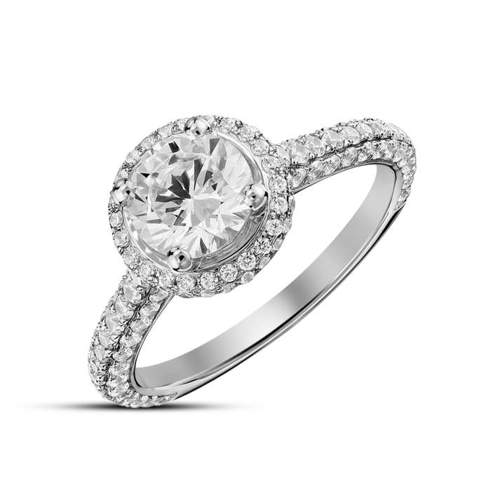 Solid 925 Sterling Silver Round Cut White Diamond Wedding Engagement Ring 10k