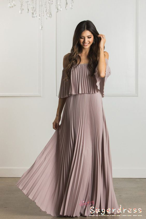 Bohemian Pleated Long Mauve Prom Dress 8001822