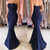 Elegant 2019 Prom Dresses Strapless Buttons Back Mermaid Royal Blue Satin