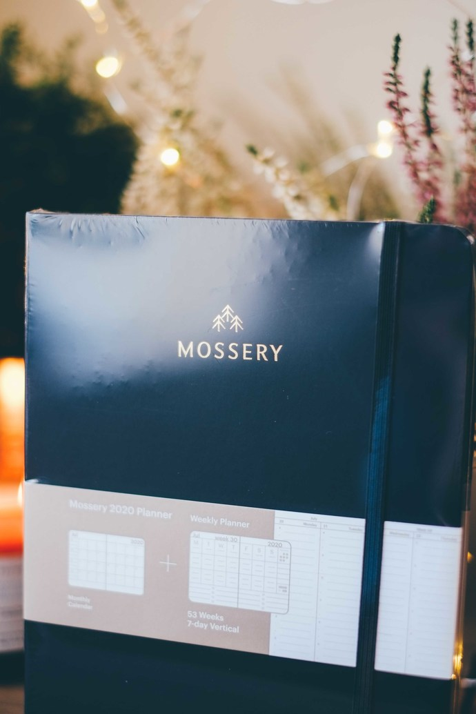 Mossery 2020 Weekly Planner - Plain Black in vertical layout