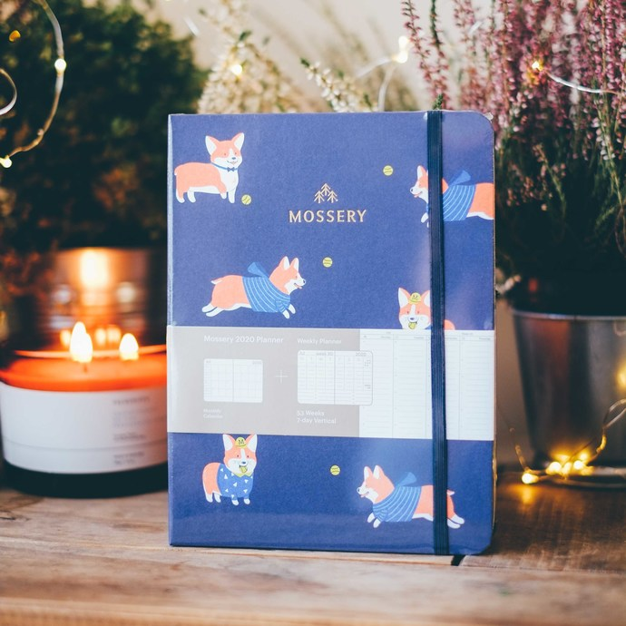 Mossery 2020 Weekly Planner - Corgi Navy in vertical layout