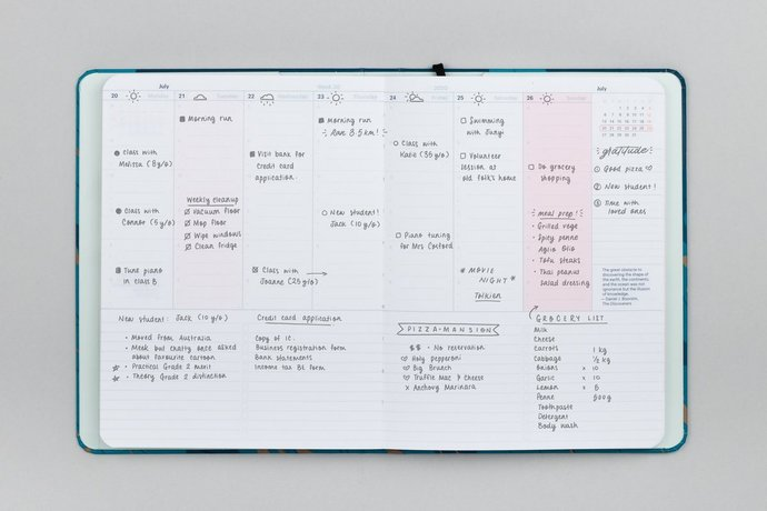 Mossery 2020 Weekly Planner - Moon Lake in horizontal layout