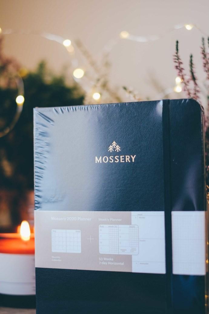 Mossery 2020 Weekly Planner - Black Hide in horizontal layout