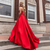 Hot Sale Red Prom Dress With Pockets V-neck Spaghetti Strap A-line Satin Vestido