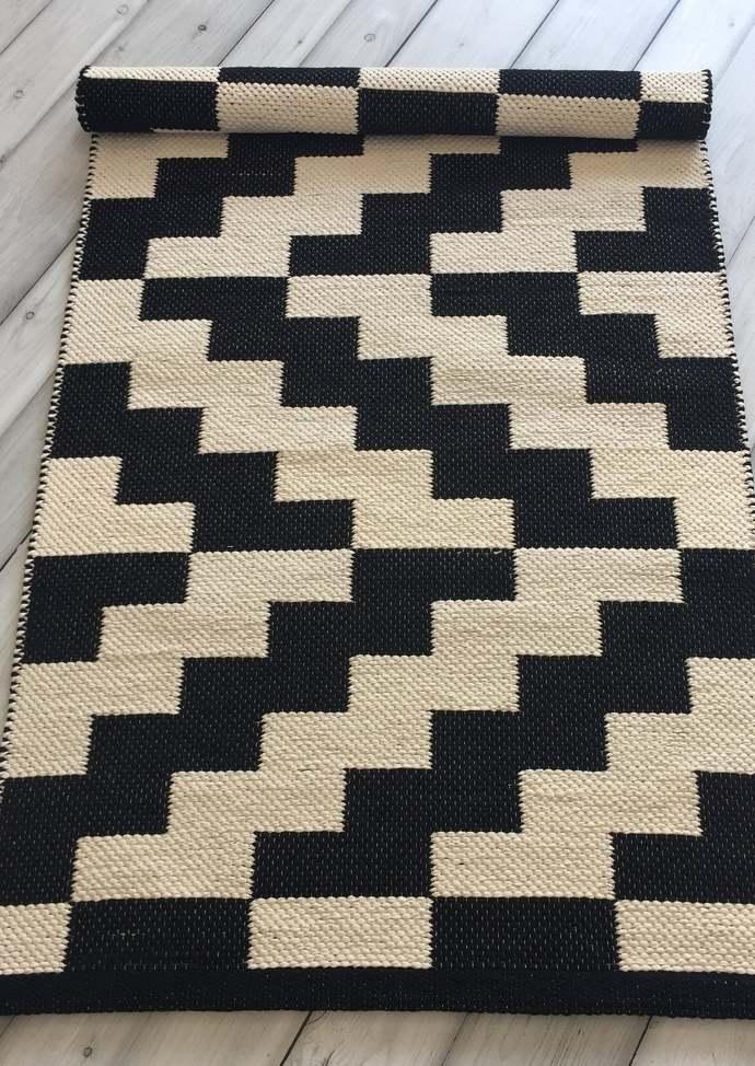 Black and white Scandinavian rugs, cotton kitchen rug runner, handwoven nursery